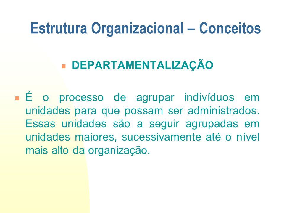 DEPARTAMENTALIZAÇÃO É o processo de agrupar indivíduos em unidades para que possam ser administrados. Essas unidades são a seguir agrupadas em unidade