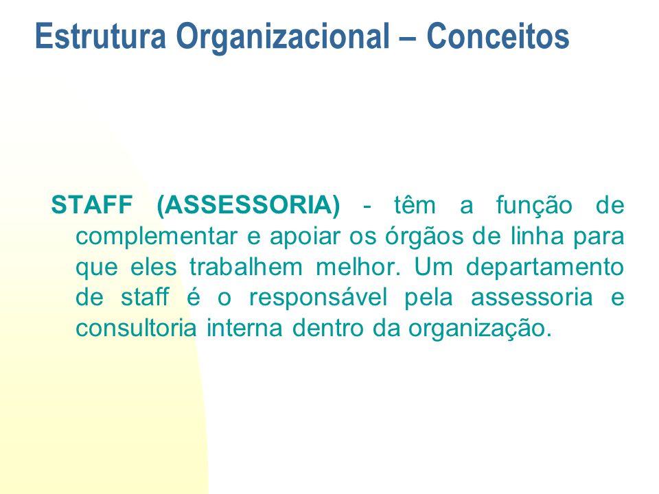 STAFF (ASSESSORIA) - têm a função de complementar e apoiar os órgãos de linha para que eles trabalhem melhor. Um departamento de staff é o responsável