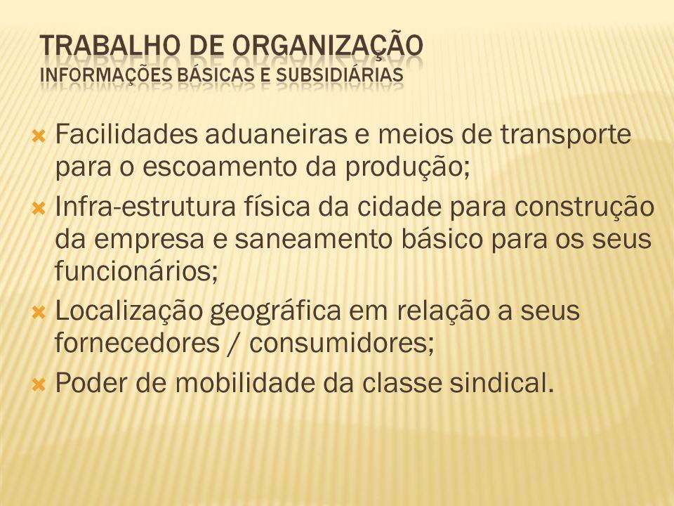 Facilidades aduaneiras e meios de transporte para o escoamento da produção; Infra-estrutura física da cidade para construção da empresa e saneamento b