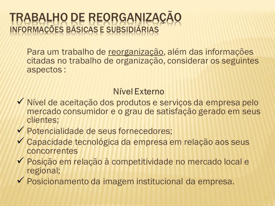 7 Para um trabalho de reorganização, além das informações citadas no trabalho de organização, considerar os seguintes aspectos : Nível Externo Nível d
