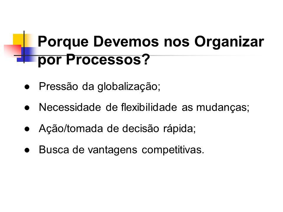 Porque Devemos nos Organizar por Processos? Pressão da globalização; Necessidade de flexibilidade as mudanças; Ação/tomada de decisão rápida; Busca de
