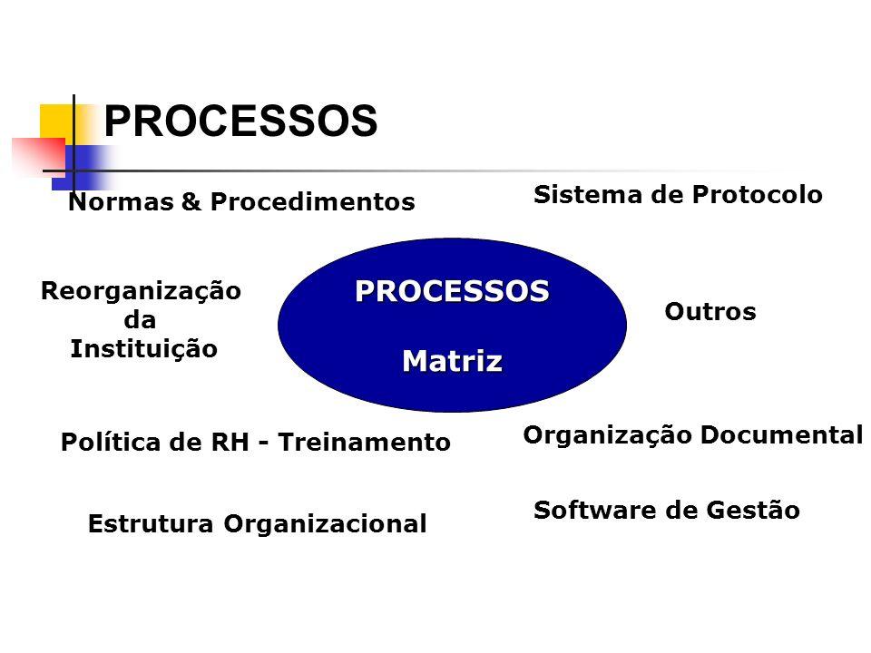 PROCESSOSMatriz Normas & Procedimentos Reorganização da Instituição Política de RH - Treinamento Estrutura Organizacional Sistema de Protocolo Organiz