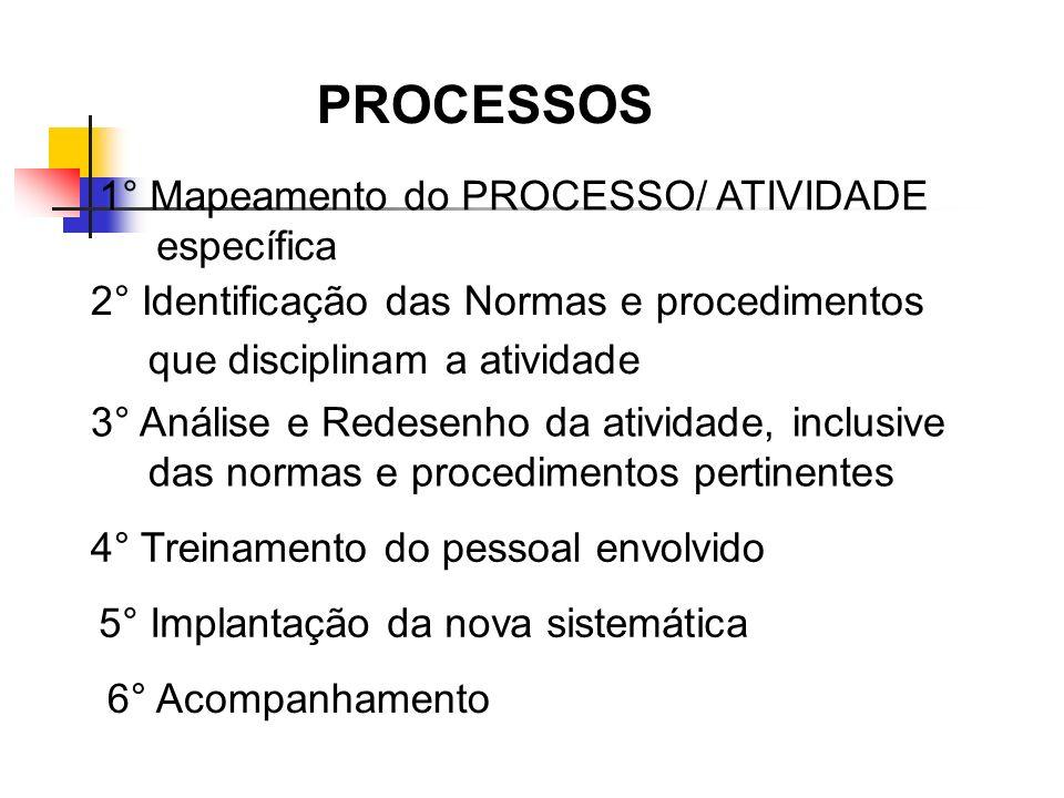 2° Identificação das Normas e procedimentos que disciplinam a atividade 3° Análise e Redesenho da atividade, inclusive das normas e procedimentos pert
