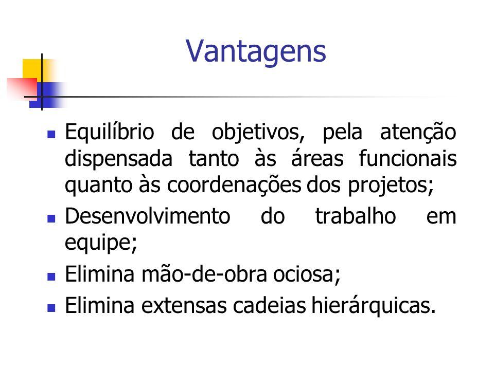 Vantagens Equilíbrio de objetivos, pela atenção dispensada tanto às áreas funcionais quanto às coordenações dos projetos; Desenvolvimento do trabalho