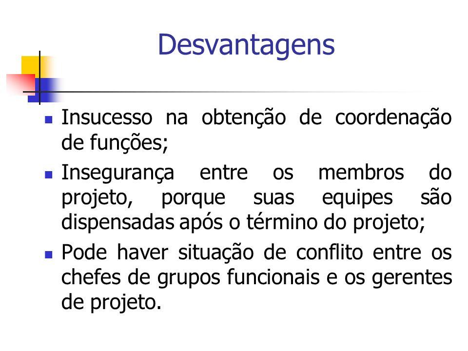 Desvantagens Insucesso na obtenção de coordenação de funções; Insegurança entre os membros do projeto, porque suas equipes são dispensadas após o térm