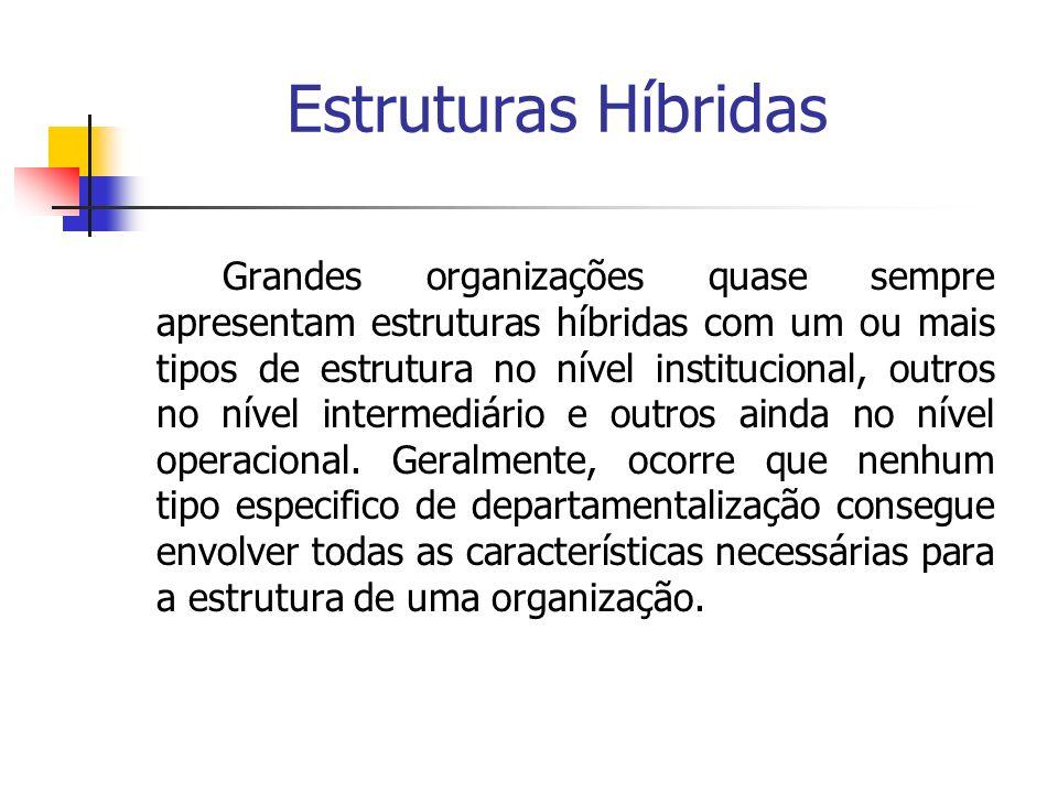 Estruturas Híbridas Grandes organizações quase sempre apresentam estruturas híbridas com um ou mais tipos de estrutura no nível institucional, outros