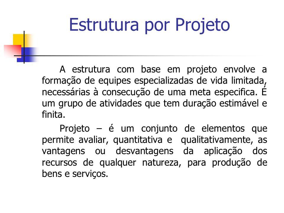Estrutura por Projeto A estrutura com base em projeto envolve a formação de equipes especializadas de vida limitada, necessárias à consecução de uma m