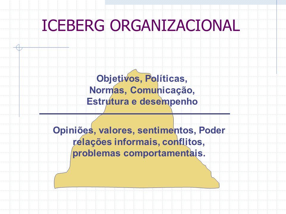ICEBERG ORGANIZACIONAL Objetivos, Políticas, Normas, Comunicação, Estrutura e desempenho Opiniões, valores, sentimentos, Poder relações informais, conflitos, problemas comportamentais.