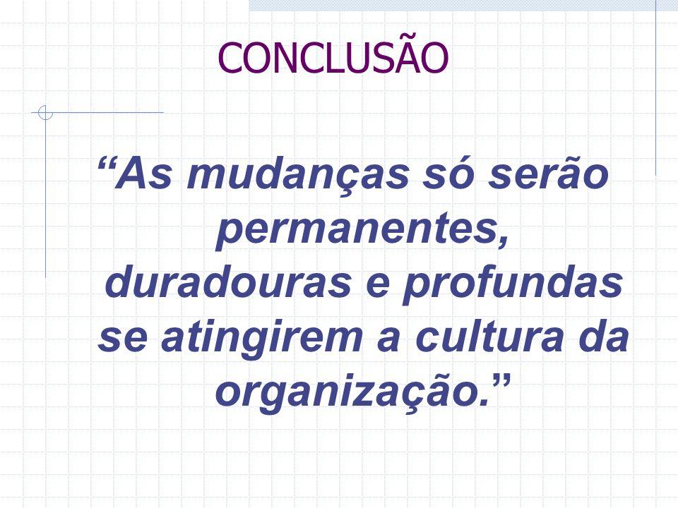 CONCLUSÃO As mudanças só serão permanentes, duradouras e profundas se atingirem a cultura da organização.
