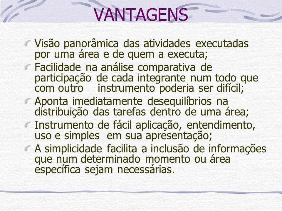 VANTAGENS Visão panorâmica das atividades executadas por uma área e de quem a executa; Facilidade na análise comparativa de participação de cada integ