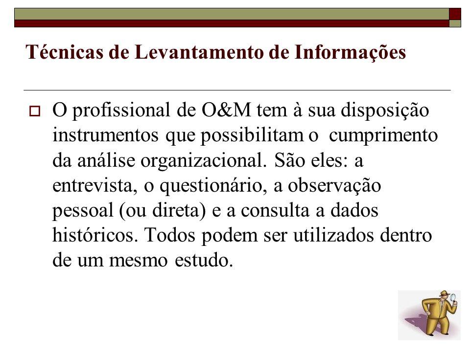 Técnicas de Levantamento de Informações O profissional de O&M tem à sua disposição instrumentos que possibilitam o cumprimento da análise organizacion