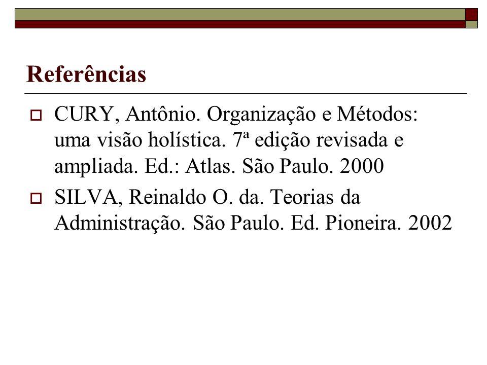 Referências CURY, Antônio. Organização e Métodos: uma visão holística. 7ª edição revisada e ampliada. Ed.: Atlas. São Paulo. 2000 SILVA, Reinaldo O. d