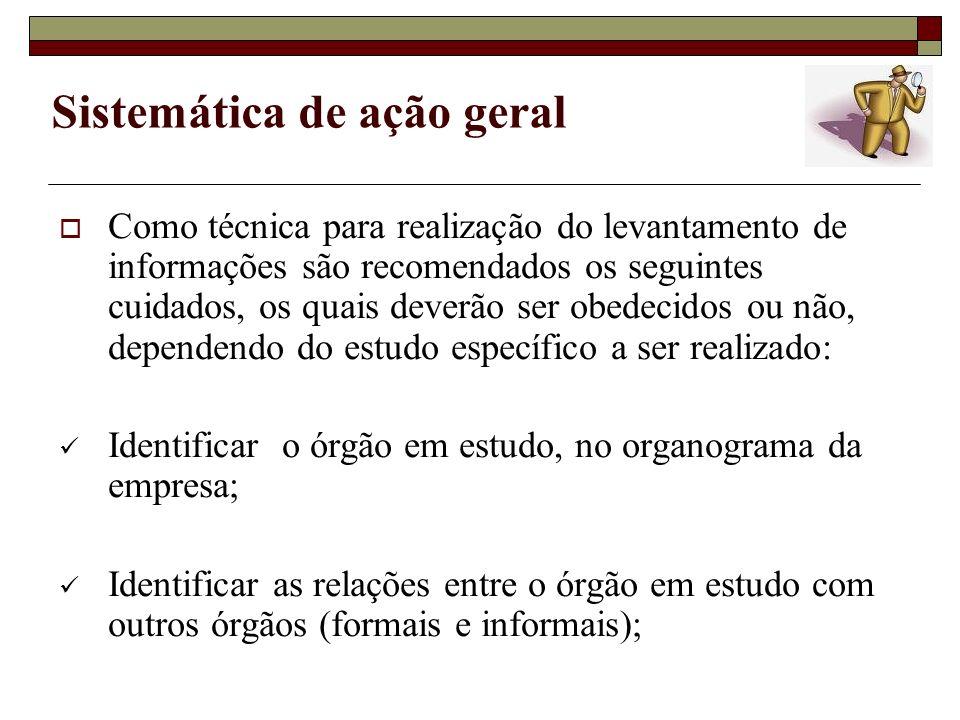 Sistemática de ação geral Como técnica para realização do levantamento de informações são recomendados os seguintes cuidados, os quais deverão ser obe