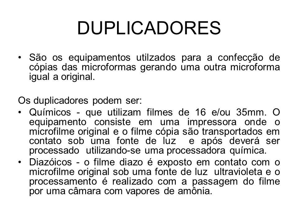 DUPLICADORES São os equipamentos utilzados para a confecção de cópias das microformas gerando uma outra microforma igual a original. Os duplicadores p
