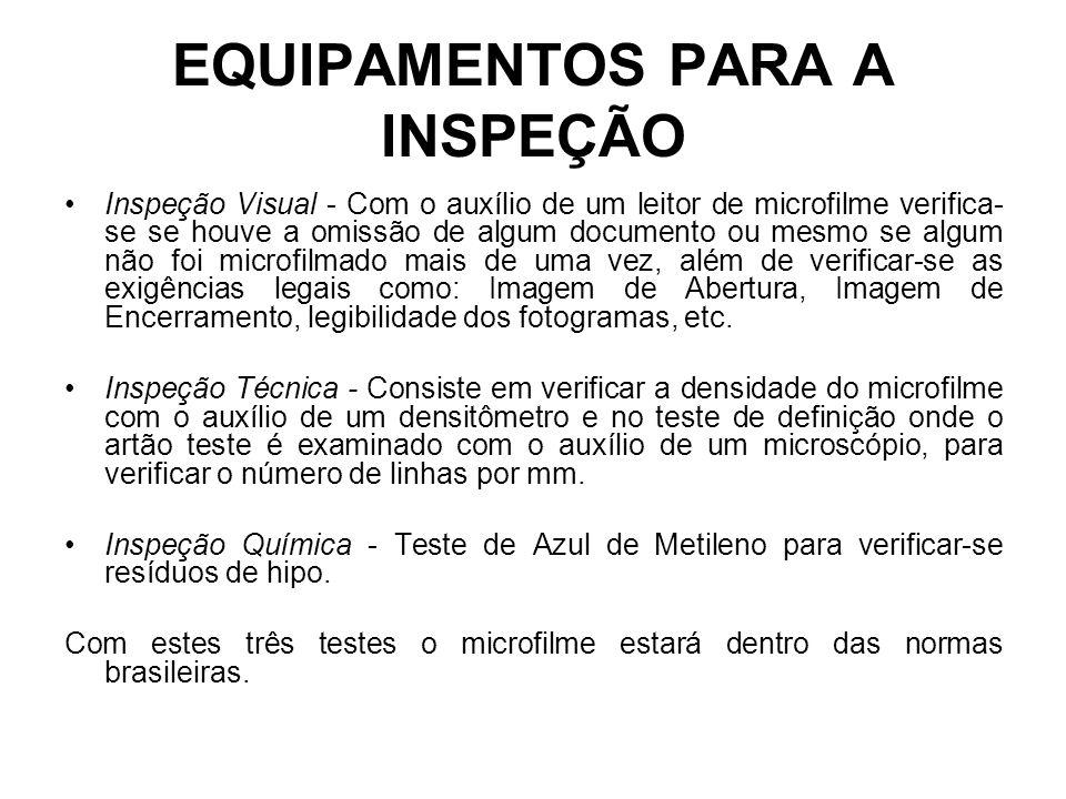 EQUIPAMENTOS PARA A INSPEÇÃO Inspeção Visual - Com o auxílio de um leitor de microfilme verifica- se se houve a omissão de algum documento ou mesmo se