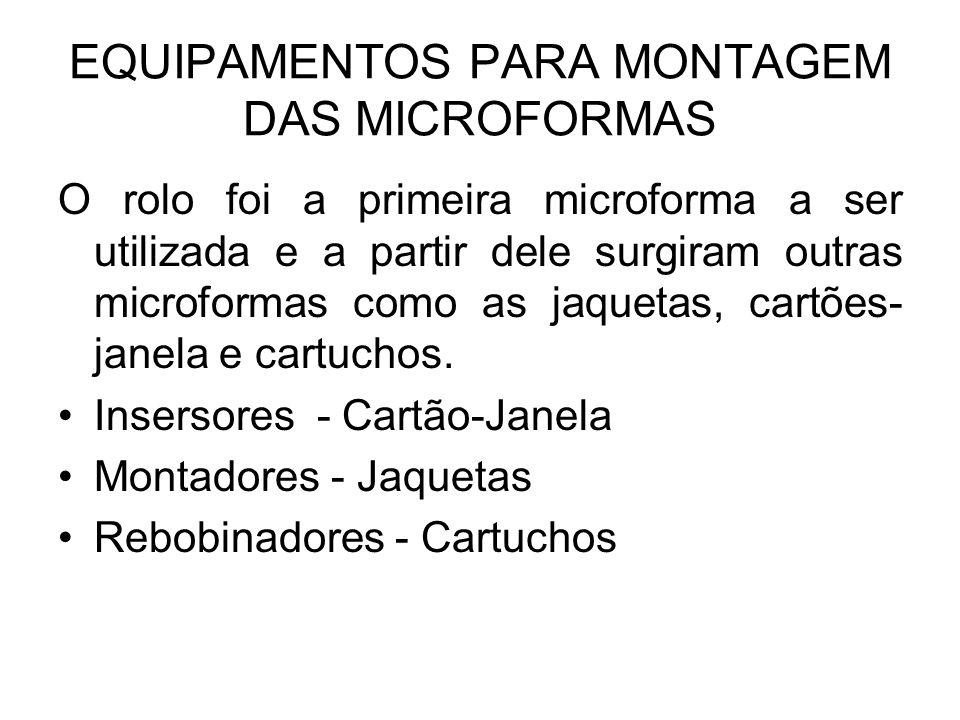 EQUIPAMENTOS PARA MONTAGEM DAS MICROFORMAS O rolo foi a primeira microforma a ser utilizada e a partir dele surgiram outras microformas como as jaquetas, cartões- janela e cartuchos.