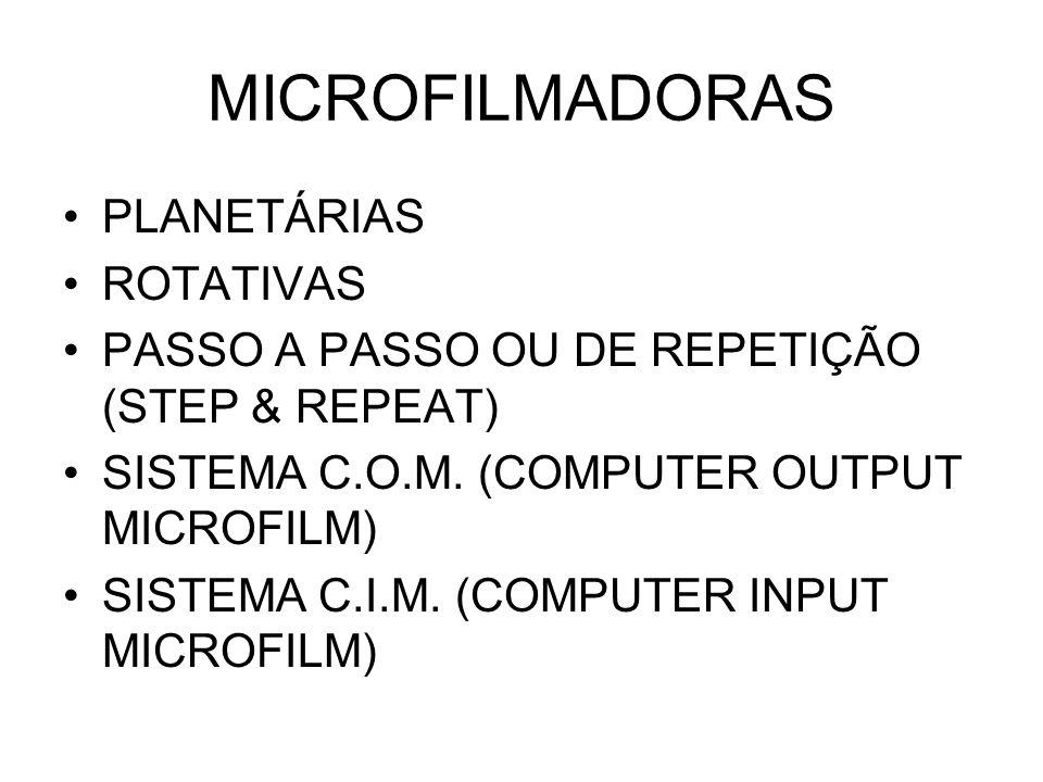 PLANETÁRIAS As microfilmadoras Planetárias são compostas de uma base onde está localizado um campo fotográfico pré-determinado, onde devem ser colocados os documentos para serem microfilmados.