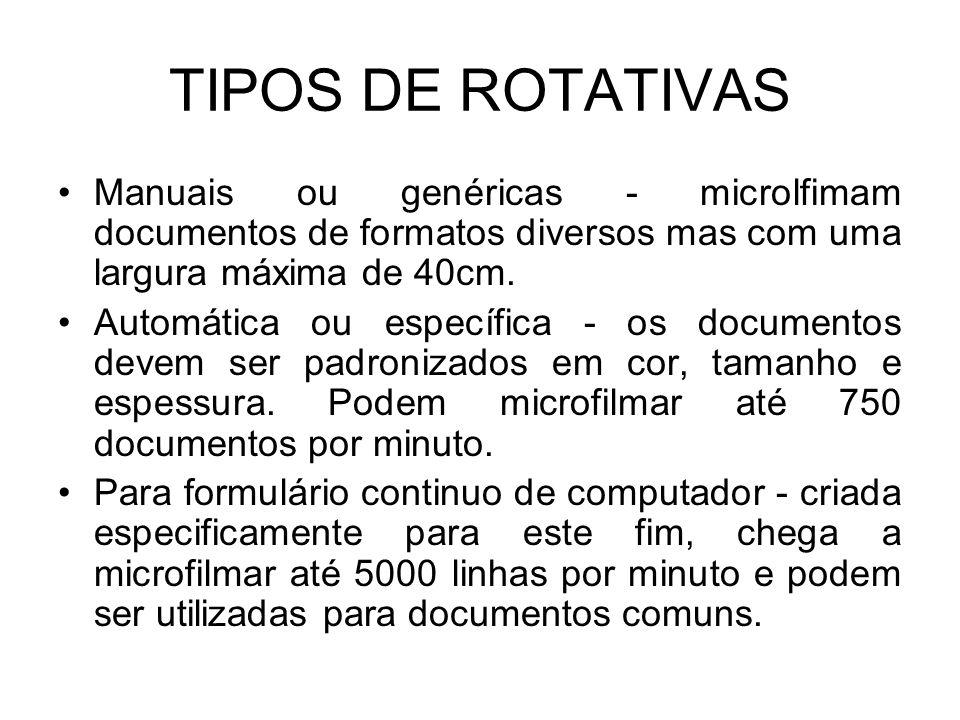 TIPOS DE ROTATIVAS Manuais ou genéricas - microlfimam documentos de formatos diversos mas com uma largura máxima de 40cm. Automática ou específica - o