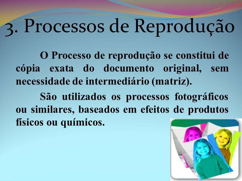 O Processo de reprodução se constitui de cópia exata do documento original, sem necessidade de intermediário (matriz). São utilizados os processos fot