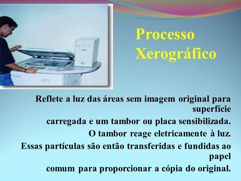 Processo Xerográfico Reflete a luz das áreas sem imagem original para superfície carregada e um tambor ou placa sensibilizada. O tambor reage eletrica