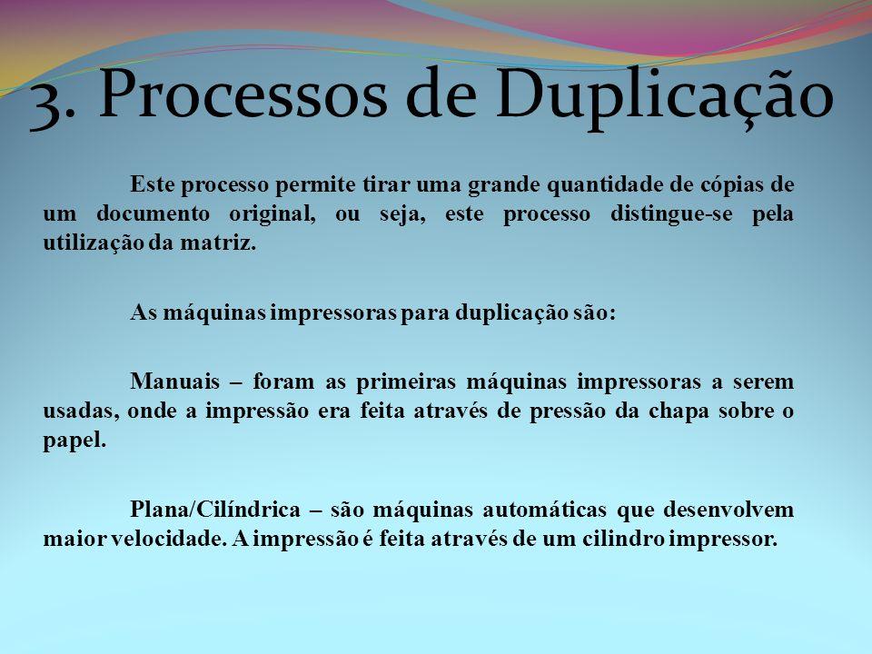 Este processo permite tirar uma grande quantidade de cópias de um documento original, ou seja, este processo distingue-se pela utilização da matriz. A