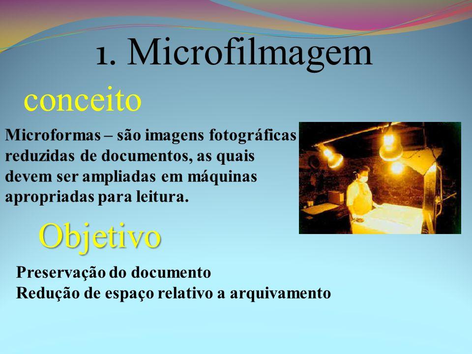 Microformas – são imagens fotográficas reduzidas de documentos, as quais devem ser ampliadas em máquinas apropriadas para leitura. 1. Microfilmagem co