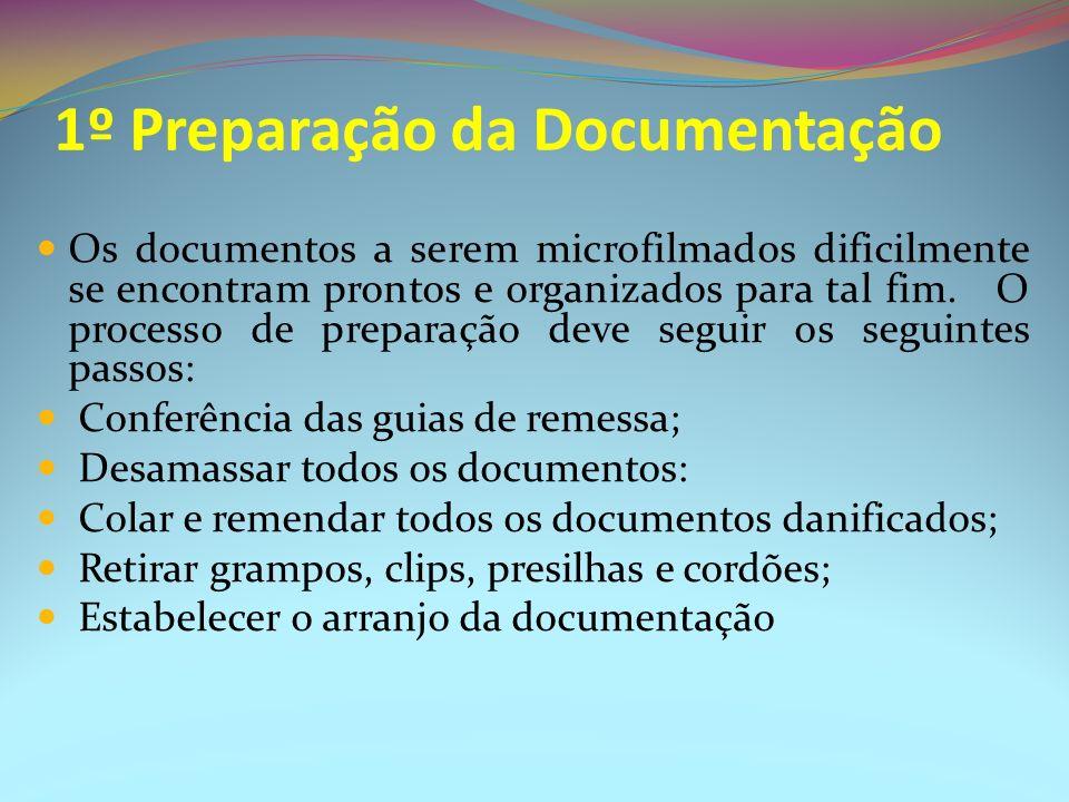 1º Preparação da Documentação Os documentos a serem microfilmados dificilmente se encontram prontos e organizados para tal fim. O processo de preparaç