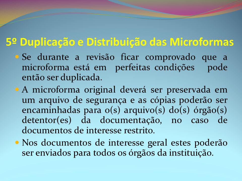 5º Duplicação e Distribuição das Microformas Se durante a revisão ficar comprovado que a microforma está em perfeitas condições pode então ser duplica