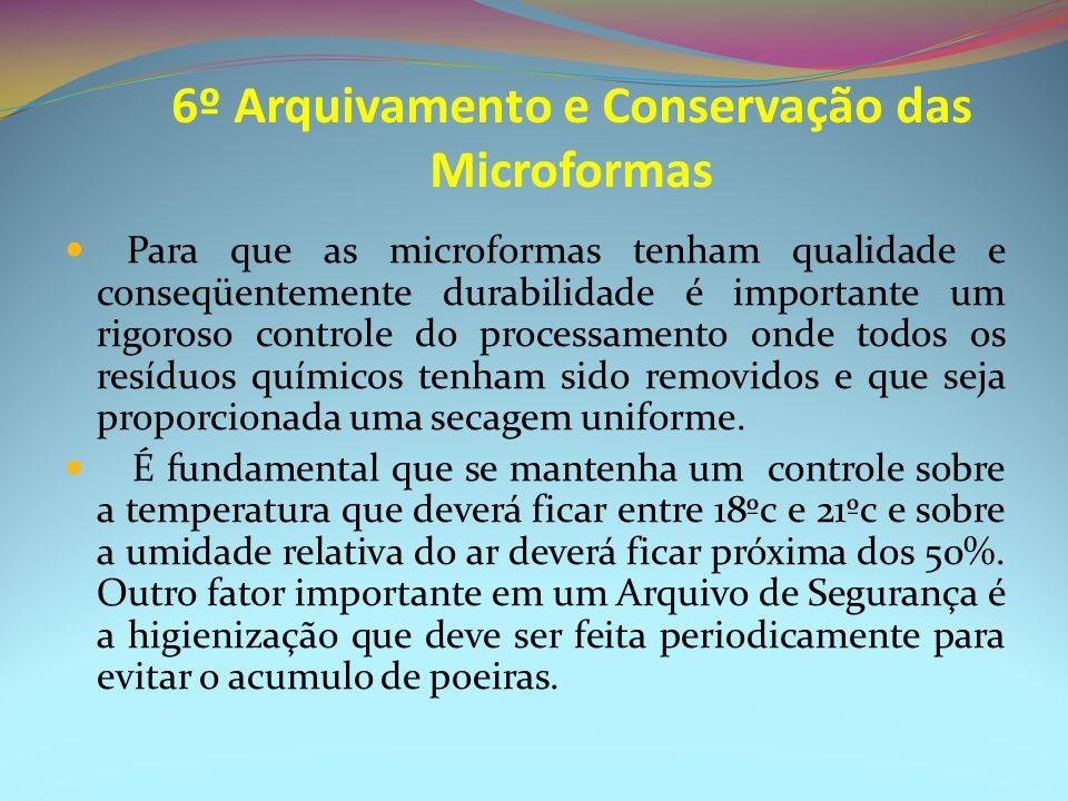 6º Arquivamento e Conservação das Microformas Para que as microformas tenham qualidade e conseqüentemente durabilidade é importante um rigoroso contro