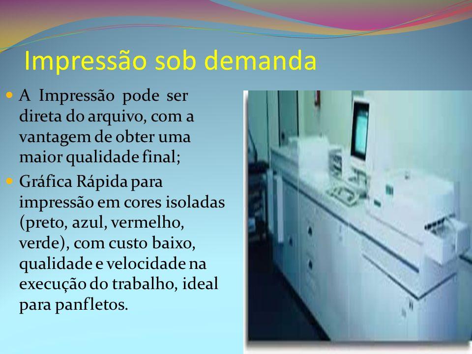 Impressão sob demanda A Impressão pode ser direta do arquivo, com a vantagem de obter uma maior qualidade final; Gráfica Rápida para impressão em core