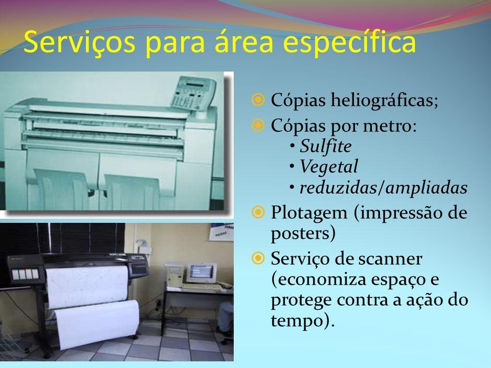 Serviços para área específica Cópias heliográficas; Cópias por metro: Sulfite Vegetal reduzidas/ampliadas Plotagem (impressão de posters) Serviço de s