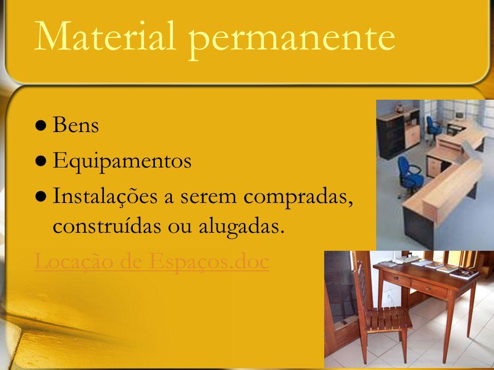 Bens Equipamentos Instalações a serem compradas, construídas ou alugadas. Locação de Espaços.doc Material permanente