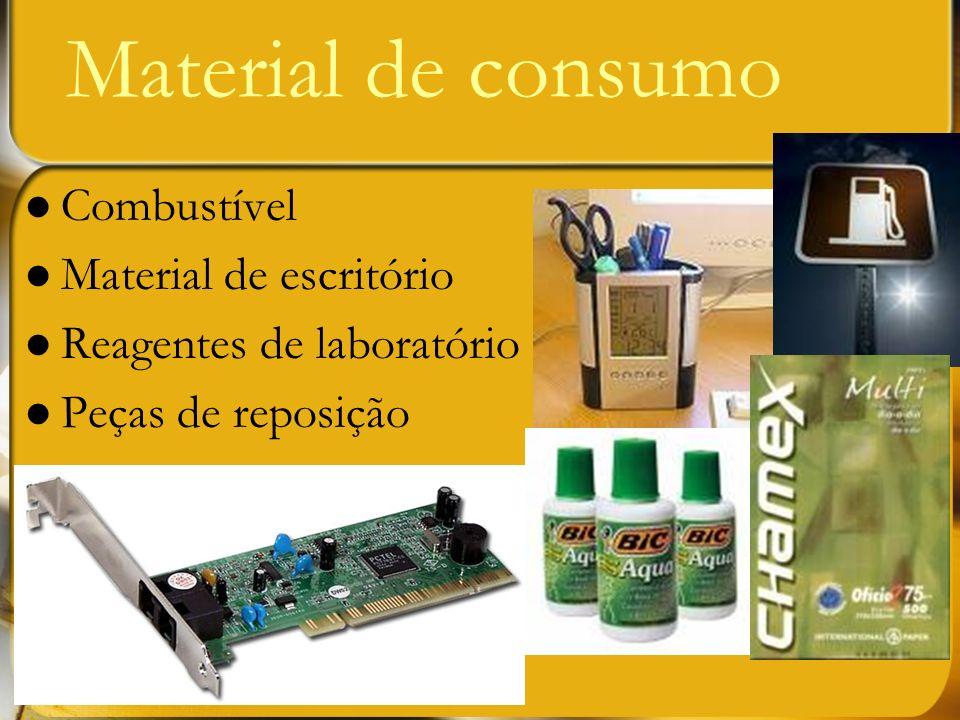 Combustível Material de escritório Reagentes de laboratório Peças de reposição Material de consumo