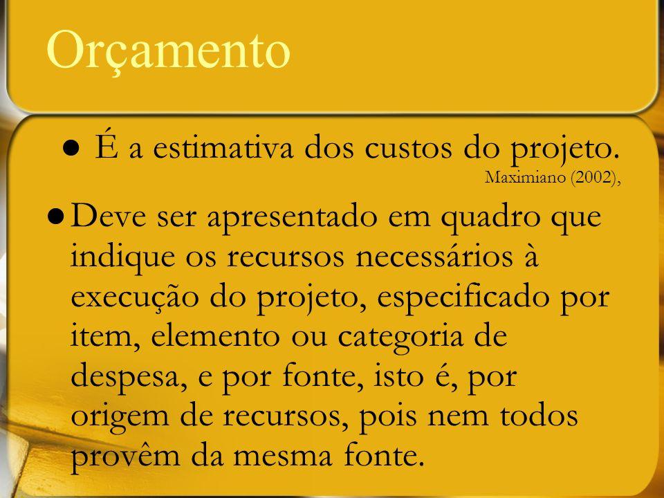 É a estimativa dos custos do projeto. Maximiano (2002), Deve ser apresentado em quadro que indique os recursos necessários à execução do projeto, espe