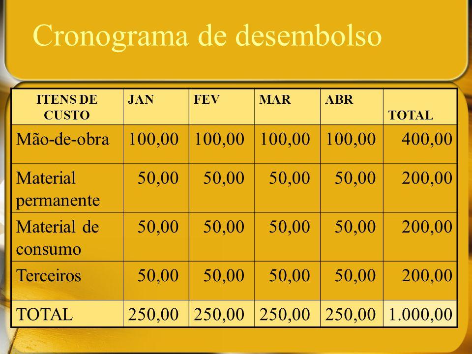 Cronograma de desembolso ITENS DE CUSTO JANFEVMARABR TOTAL Mão-de-obra100,00 400,00 Material permanente 50,00 200,00 Material de consumo 50,00 200,00