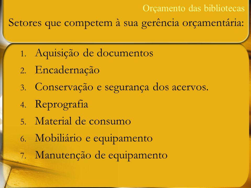 1. Aquisição de documentos 2. Encadernação 3. Conservação e segurança dos acervos. 4. Reprografia 5. Material de consumo 6. Mobiliário e equipamento 7