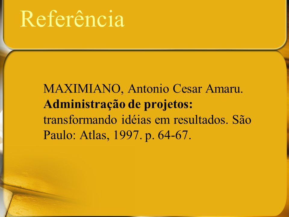 Referência MAXIMIANO, Antonio Cesar Amaru. Administração de projetos: transformando idéias em resultados. São Paulo: Atlas, 1997. p. 64-67.