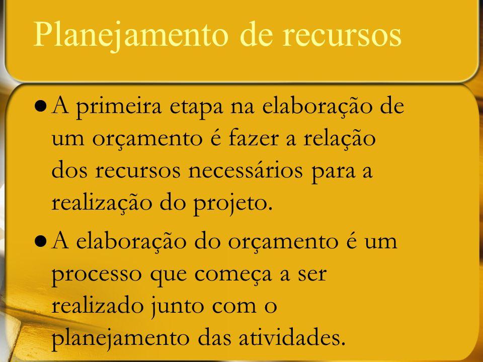 Planejamento de recursos A primeira etapa na elaboração de um orçamento é fazer a relação dos recursos necessários para a realização do projeto. A ela