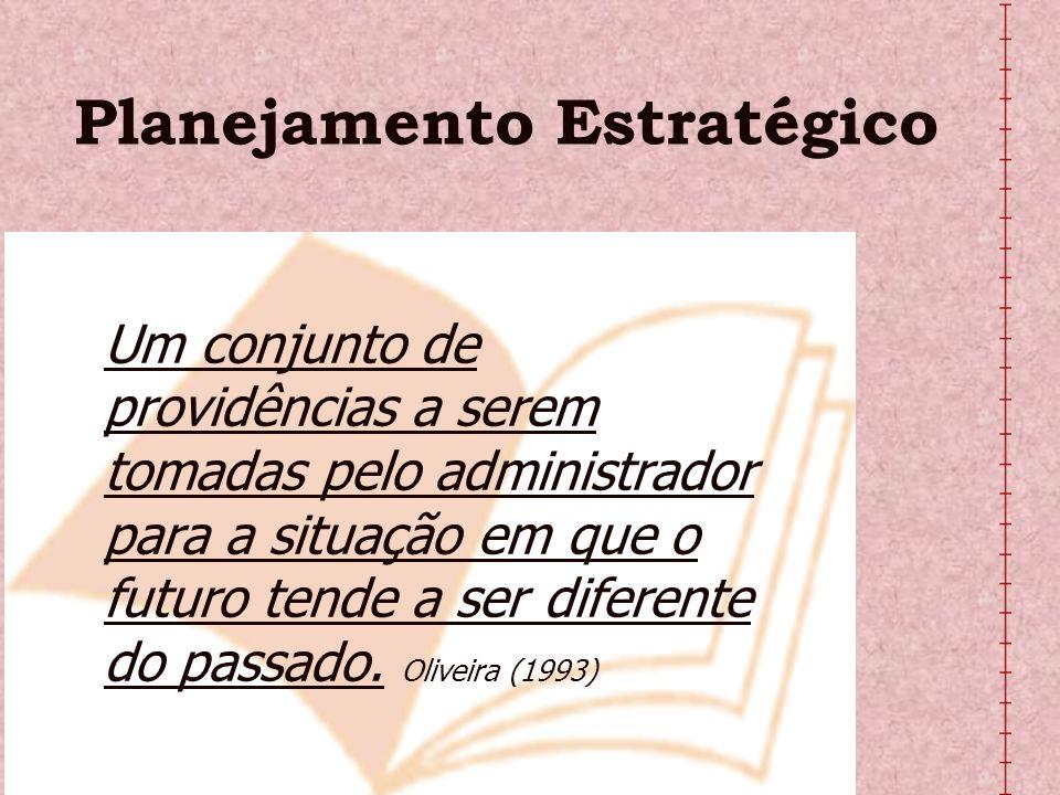 Planejamento Estratégico Um conjunto de providências a serem tomadas pelo administrador para a situação em que o futuro tende a ser diferente do passa