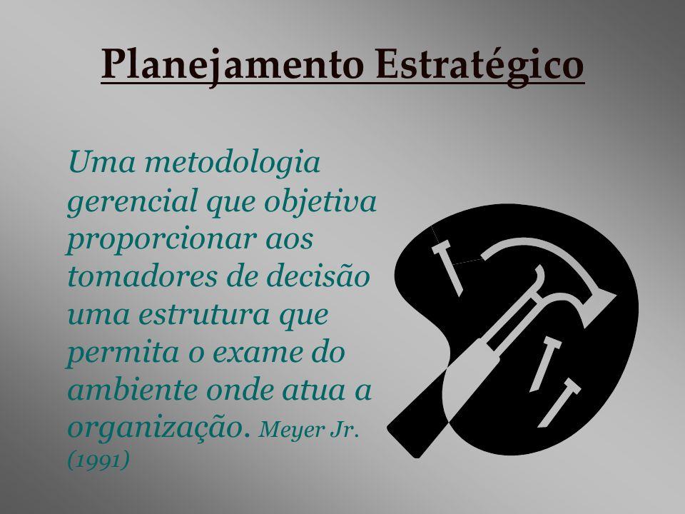 Planejamento Estratégico Uma metodologia gerencial que objetiva proporcionar aos tomadores de decisão uma estrutura que permita o exame do ambiente on