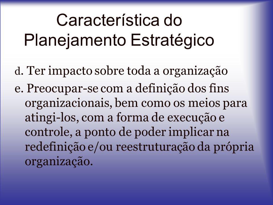 d. Ter impacto sobre toda a organização e. Preocupar-se com a definição dos fins organizacionais, bem como os meios para atingi-los, com a forma de ex