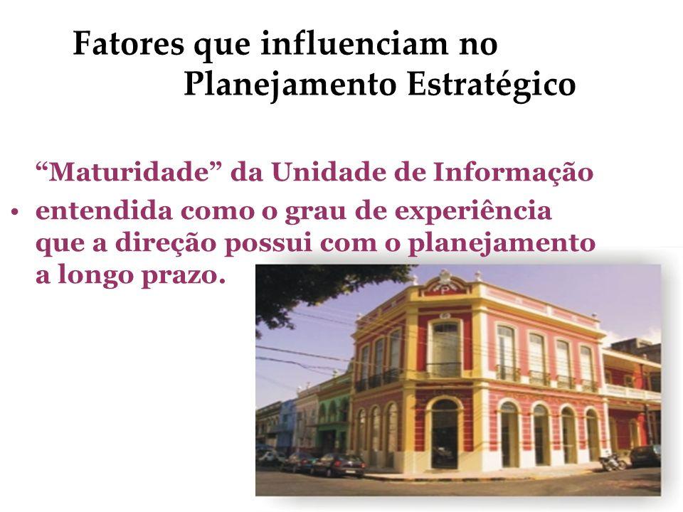 Fatores que influenciam no Planejamento Estratégico Maturidade da Unidade de Informação entendida como o grau de experiência que a direção possui com