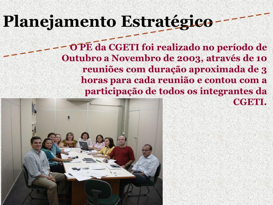 O PE da CGETI foi realizado no período de Outubro a Novembro de 2003, através de 10 reuniões com duração aproximada de 3 horas para cada reunião e con