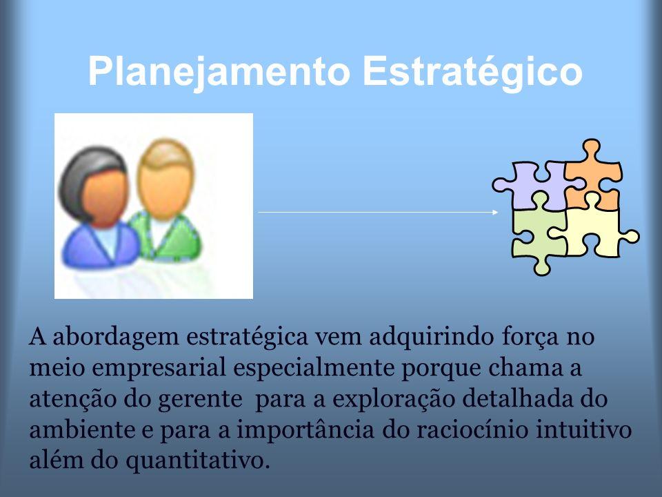 Planejamento Estratégico A abordagem estratégica vem adquirindo força no meio empresarial especialmente porque chama a atenção do gerente para a explo