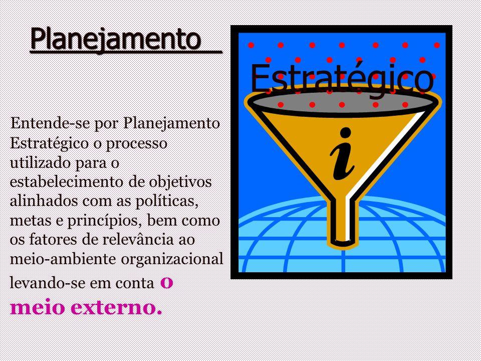 Planejamento Planejamento Estratégico Entende-se por Planejamento Estratégico o processo utilizado para o estabelecimento de objetivos alinhados com a