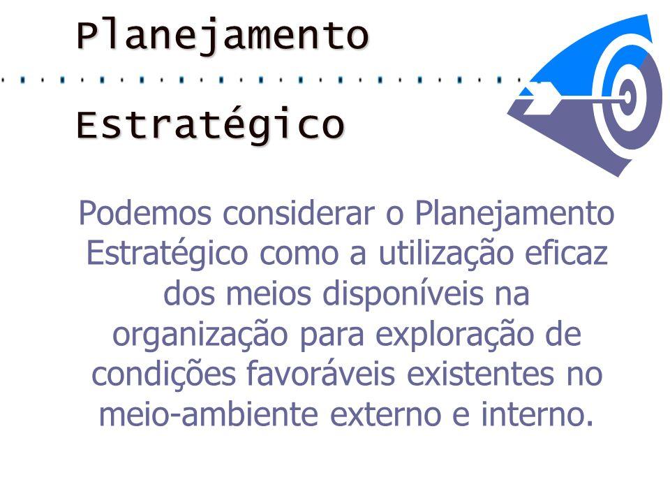 Planejamento Estratégico Podemos considerar o Planejamento Estratégico como a utilização eficaz dos meios disponíveis na organização para exploração d