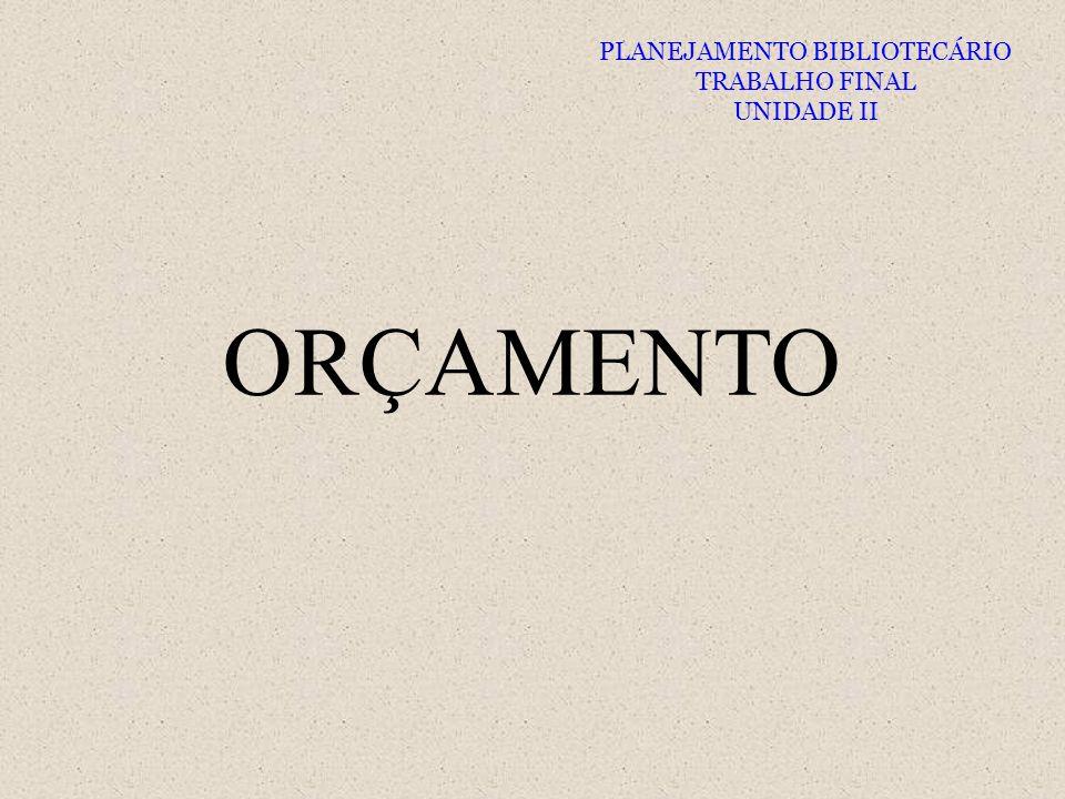 ORÇAMENTO PLANEJAMENTO BIBLIOTECÁRIO TRABALHO FINAL UNIDADE II