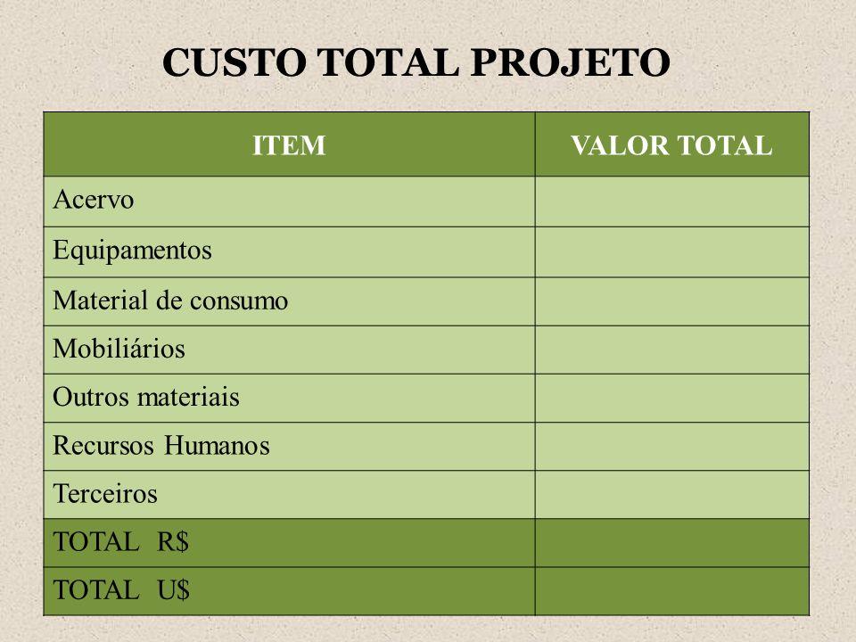 CUSTO TOTAL PROJETO ITEMVALOR TOTAL Acervo Equipamentos Material de consumo Mobiliários Outros materiais Recursos Humanos Terceiros TOTAL R$ TOTAL U$