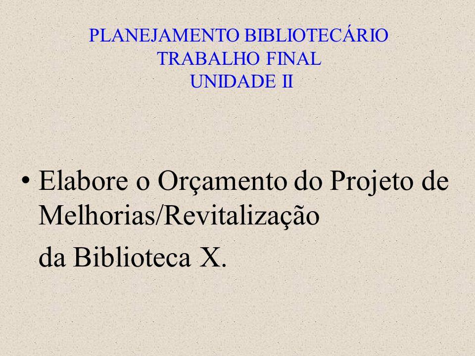 PLANEJAMENTO BIBLIOTECÁRIO TRABALHO FINAL UNIDADE II Elabore o Orçamento do Projeto de Melhorias/Revitalização da Biblioteca X.