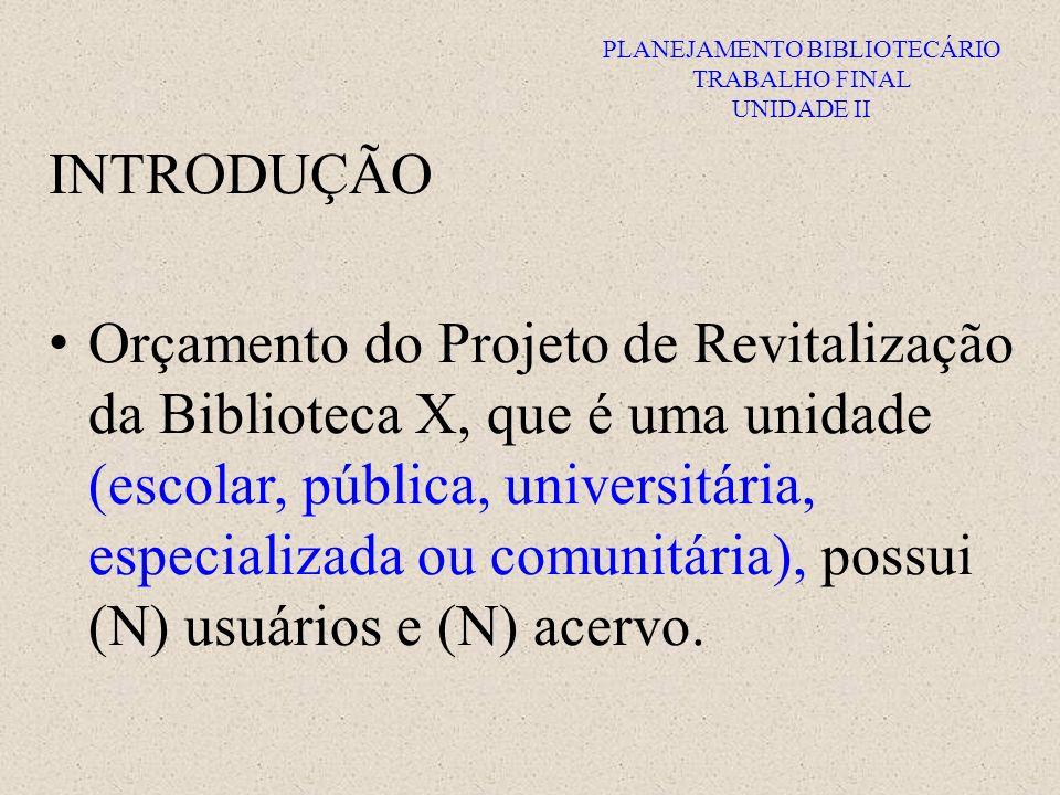 PLANEJAMENTO BIBLIOTECÁRIO TRABALHO FINAL UNIDADE II INTRODUÇÃO Objetivo do projeto: melhorias na biblioteca (três melhorias esperadas).